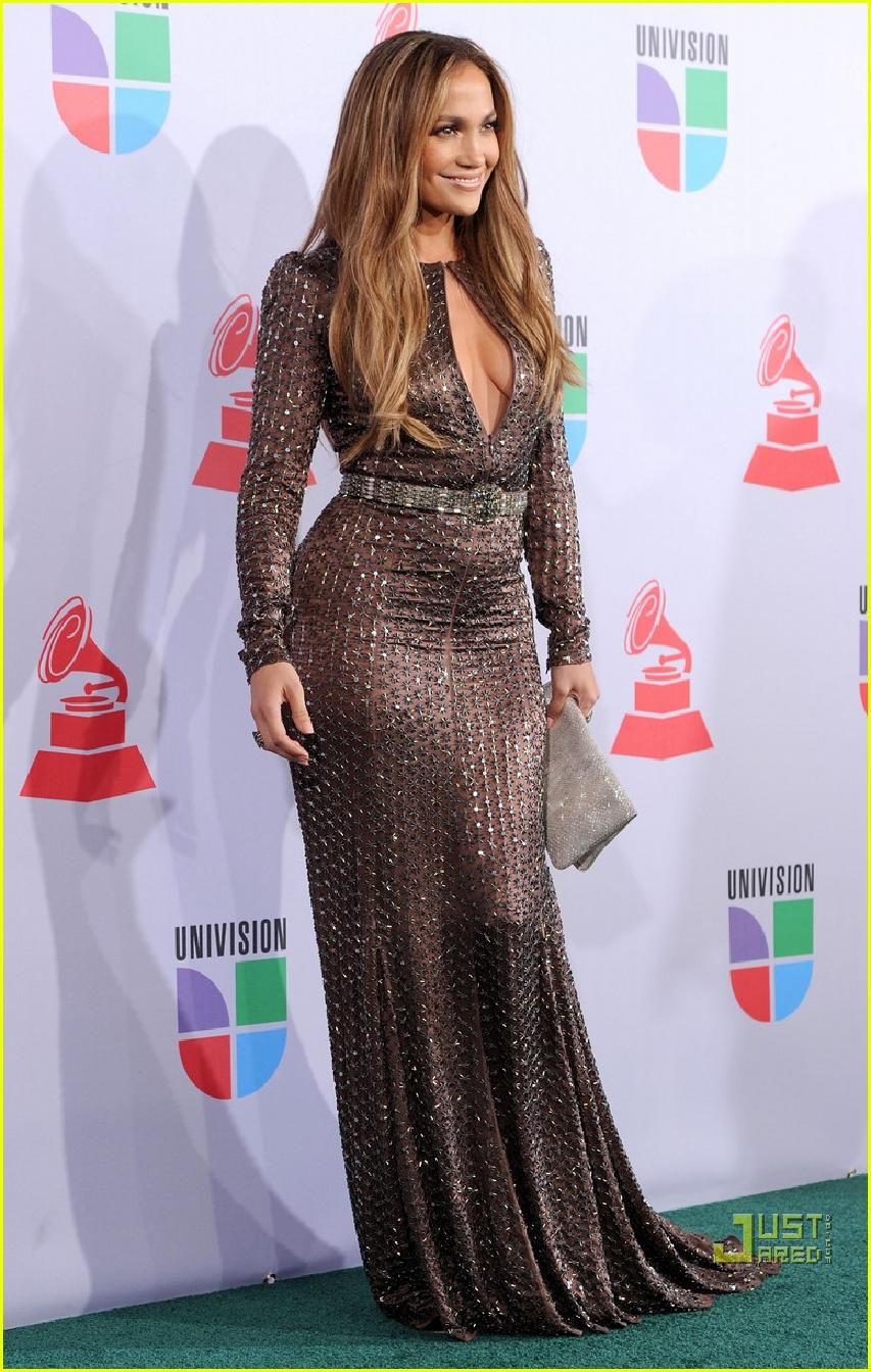 Celebrities Wearing Bling Jennifer Lopez In A Black Long Sleeves Keyhole Neckline Sequin Gown