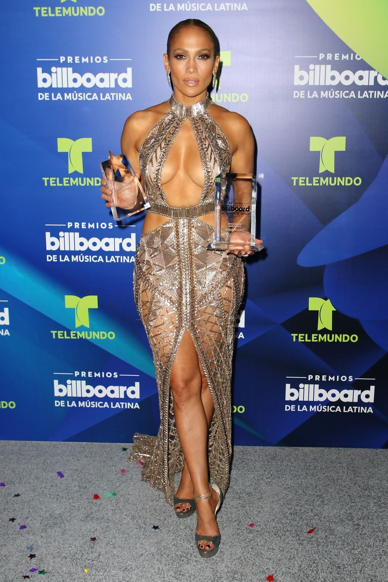 Celebrities Wearing Bling Jennifer Lopez Killed It By Wearing A Naked Sequin Dress with A High Front Slit