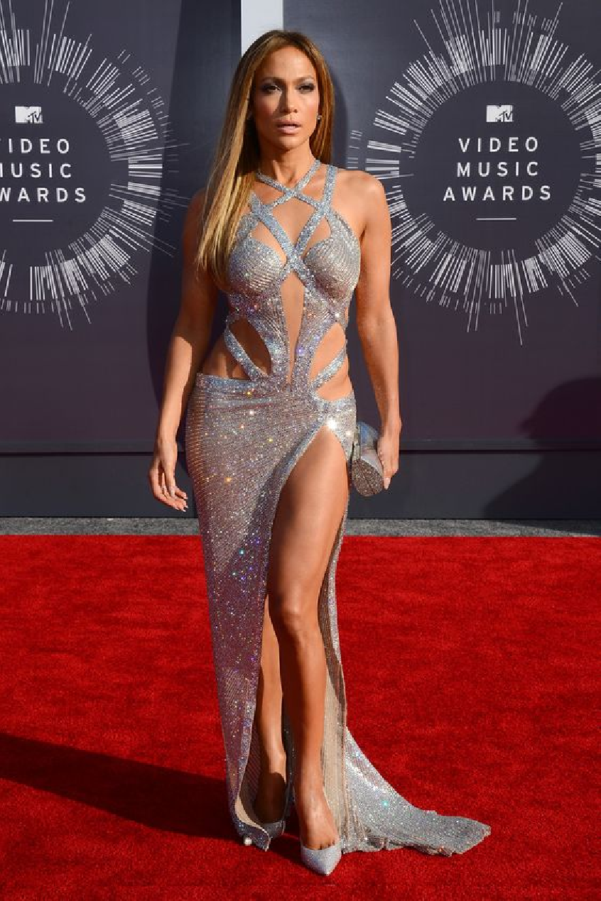 Celebrities Wearing Bling JLo Wearing a Sequin Sleeveless Long Gown with High Slit Gown