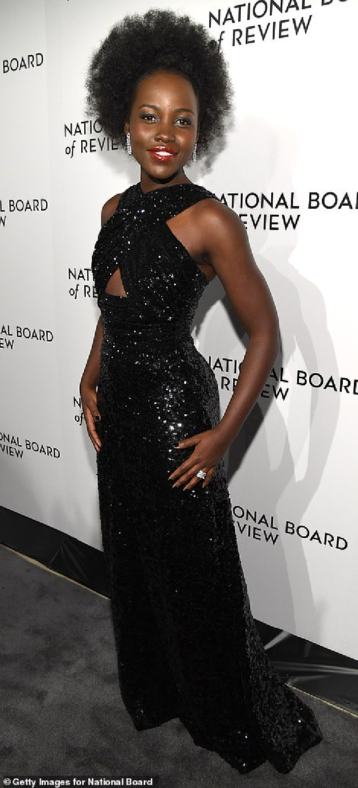 Celebrities Wearing Bling Lupita Nyong'o Wearing A Black Long Floor Length Sequin Gown