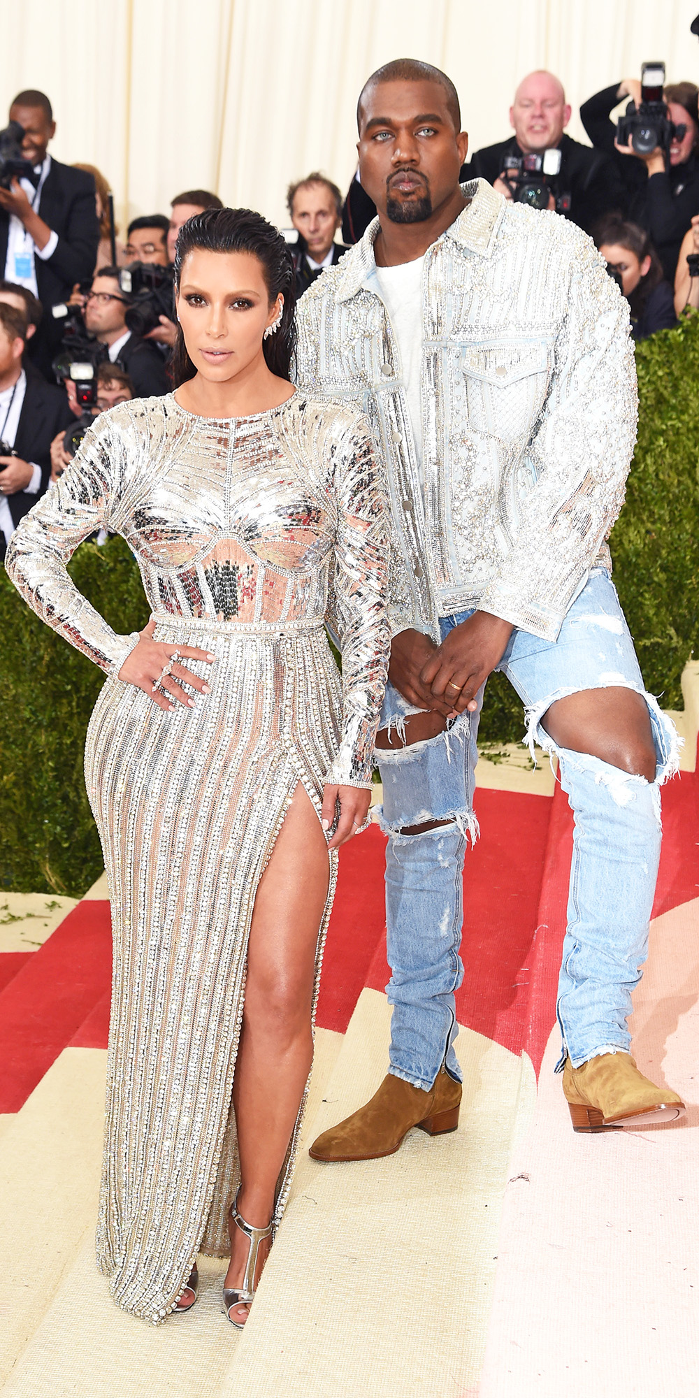 Celebrities Wearing Bling Kim Kardashian Wears a Long Sleeves High Slit Sequin Dress and Open Toe Pumps