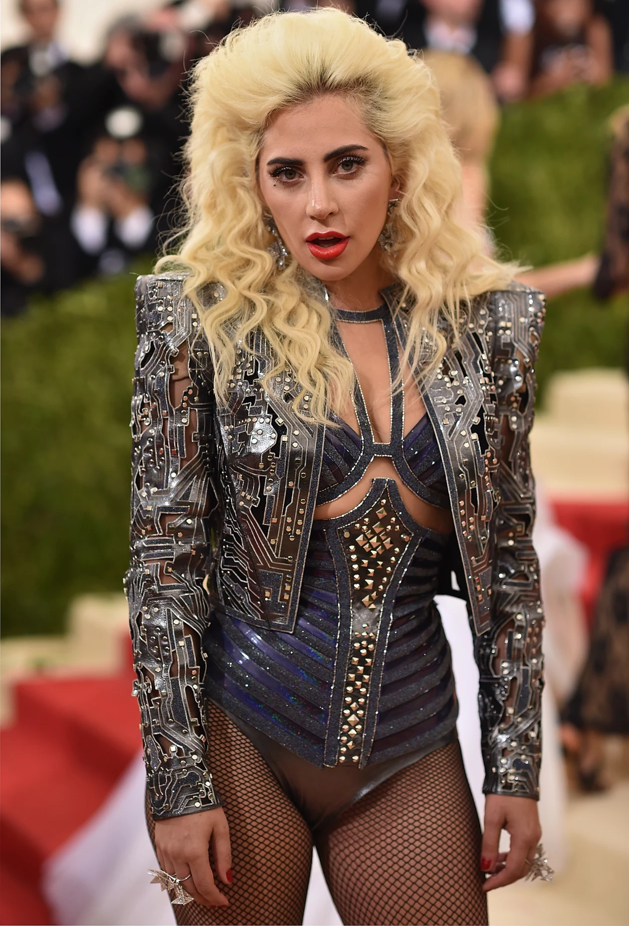 Celebrities Wearing Bling Lady Gaga Wears a Studded Bikini with A Long Sleeves Pull Over Studded Jacket