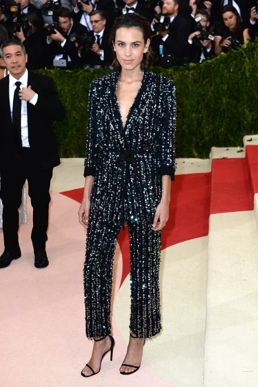 Celebrities Wearing Bling Alexa Chung Wearing a Black and Silver Thakoon tuxedo with an Open Toe Heel Sandals