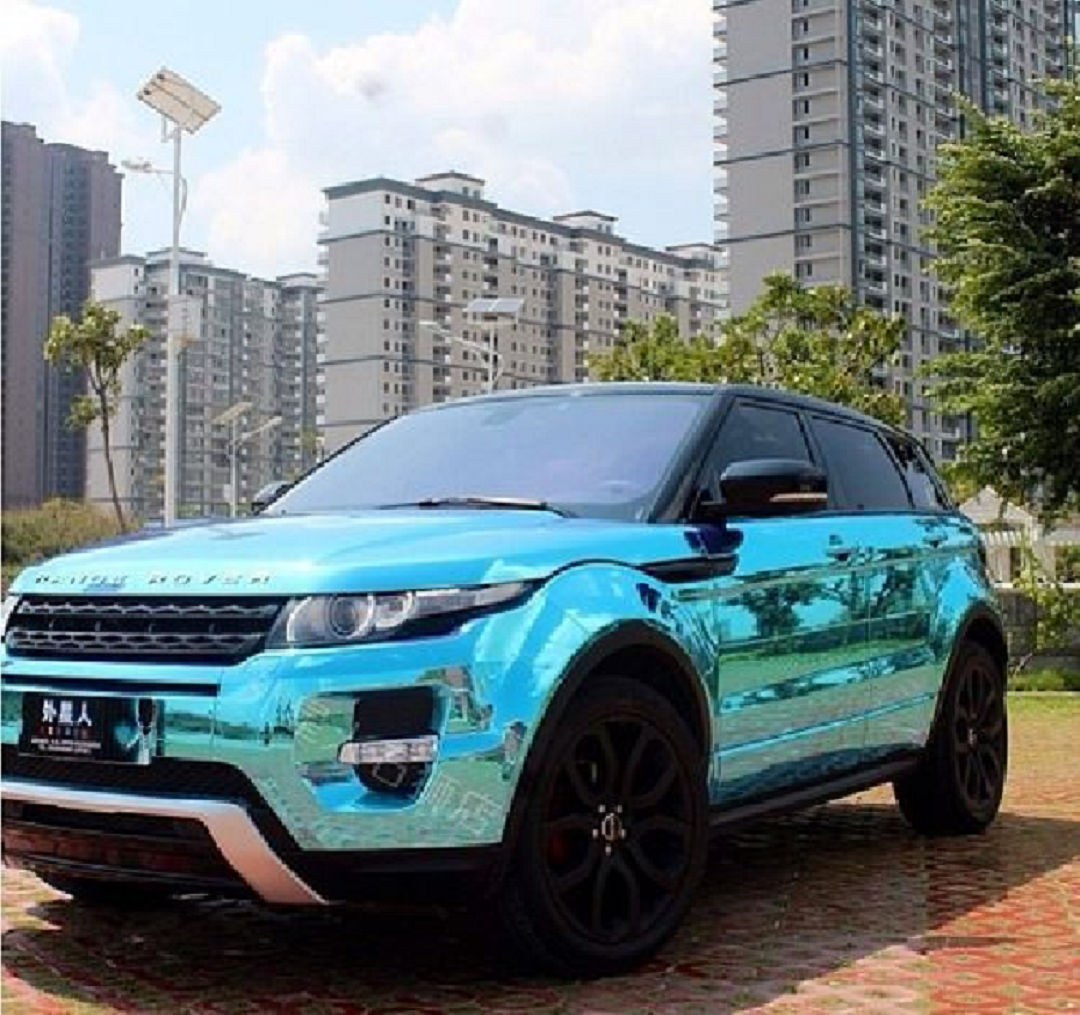 Bling wrapped cars Land Rover Wrapped In Shining Blue