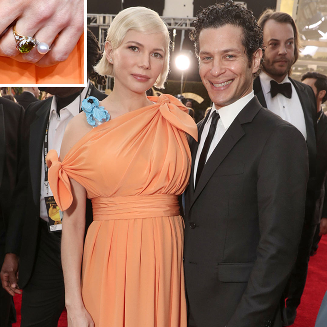 Celebrity Jewelry Michelle Williams and Thomas Kail Wears Her Engagement Ring with a Large Pearl Solitaire Set with Two Sparkling Baguettes