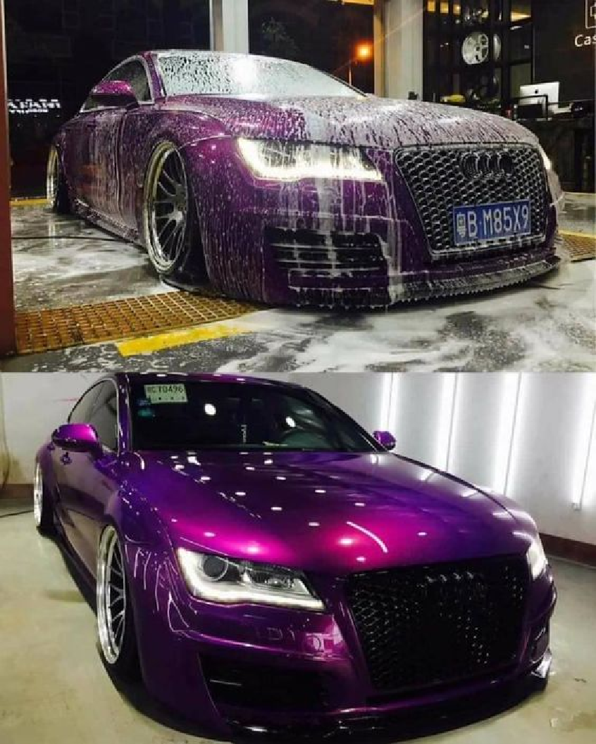 Bling wrapped cars Dark Shining Purple Metallic Wrapped Audi