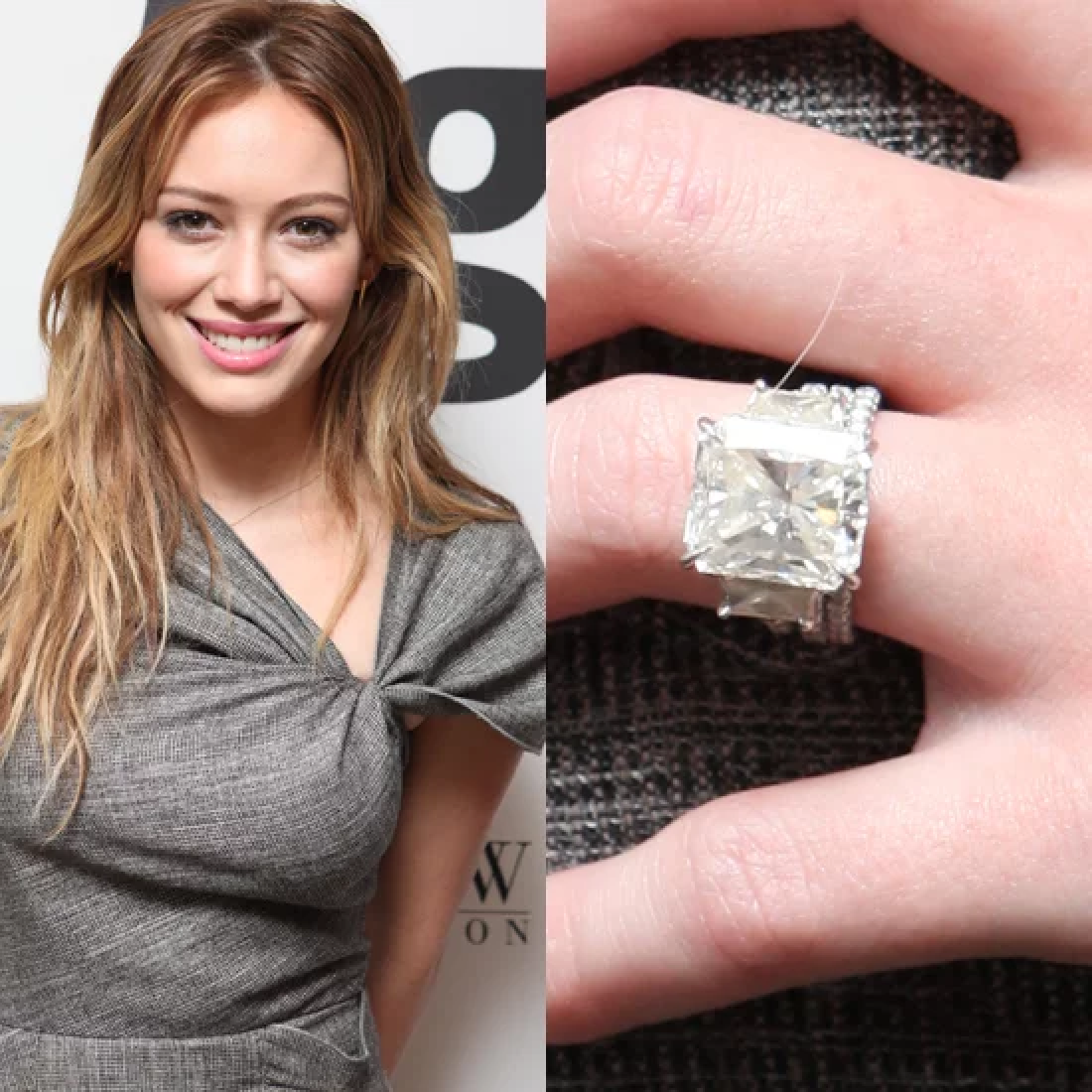 Celebrity Jewelry: Hilary Duff Prefers a Beautiful Emerald Cut Diamond Ring