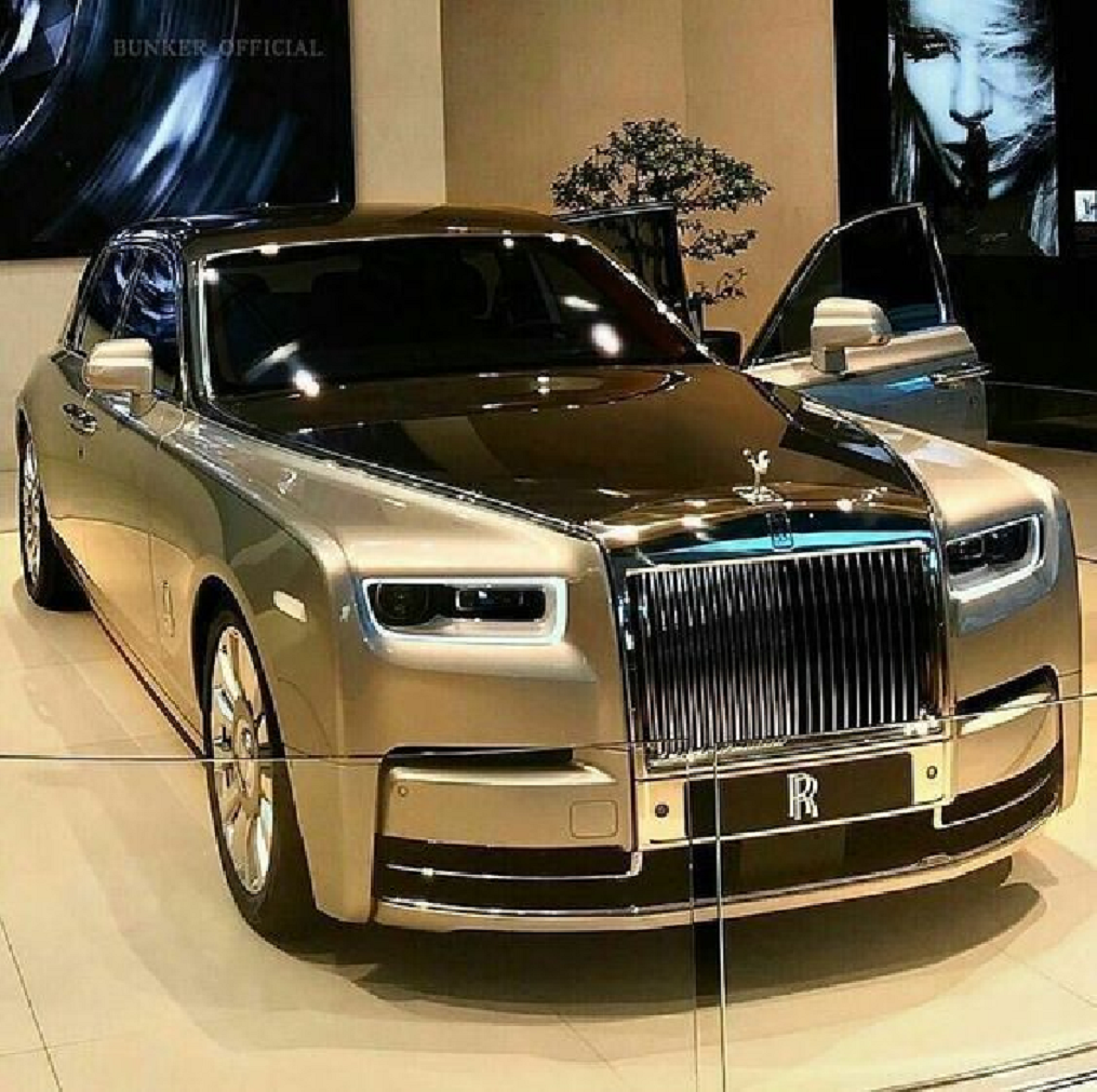 Bling wrapped cars Grand Shining Gold RR Phantom with Silver Trims