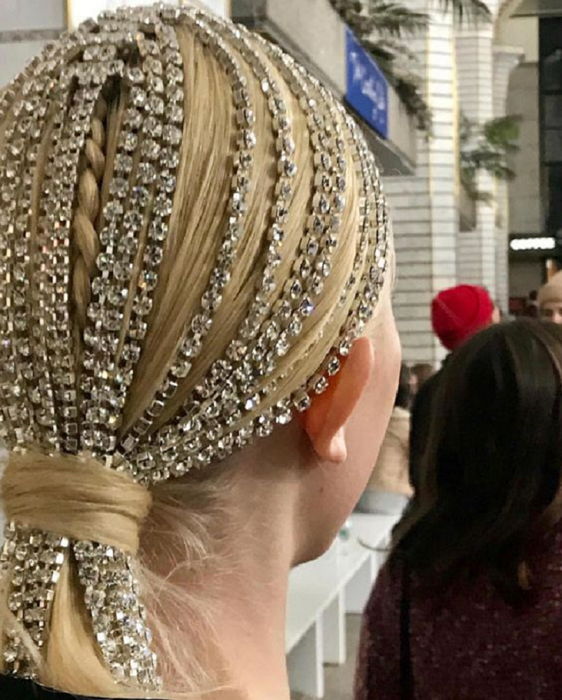 Bling hair accessories Classic Pony Tail with Rhinestone Chain Pleated with Hair
