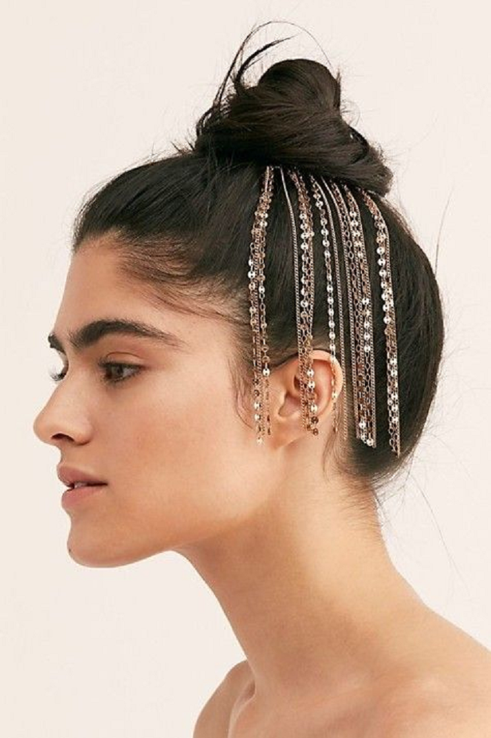 Bling hair accessories Classic Bun Hairstyle with Embellished Rhinestone Hanging Chains