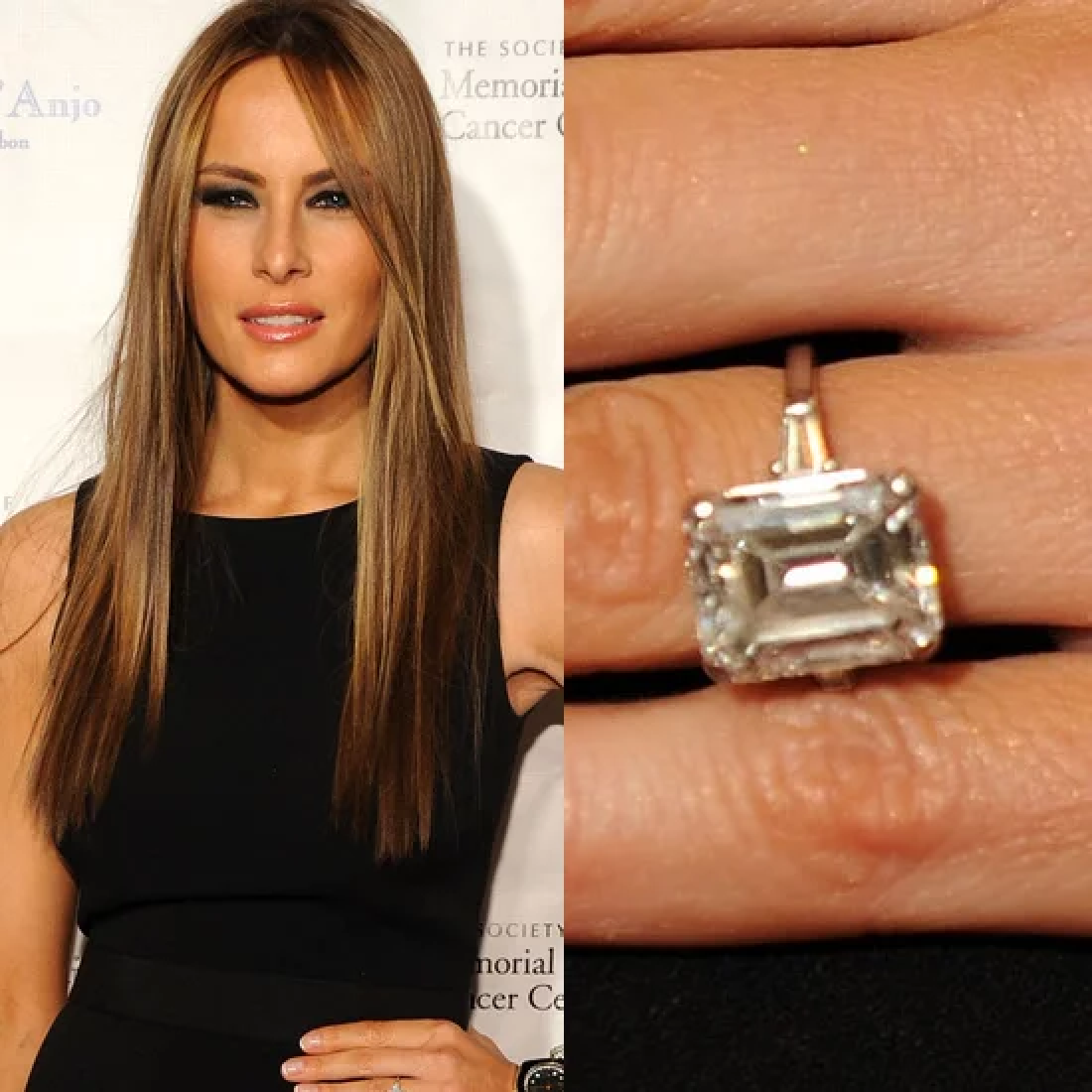 Celebrity Jewelry Melania Trump Wears A Big White Diamond Sparkling Ring