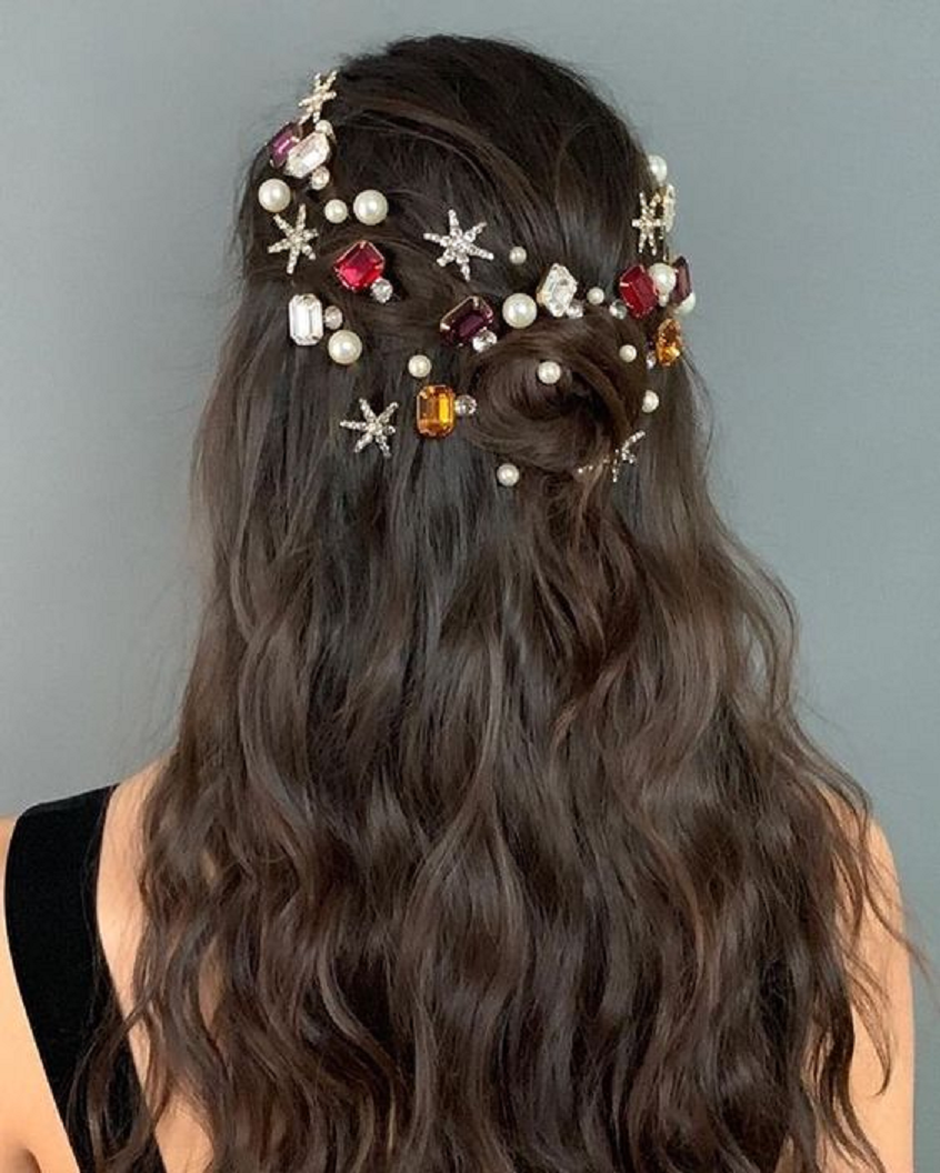 Bling hair accessories The Classic Hairstyle with Embilleshed Glittering Rhinestones, Gems and Pearls