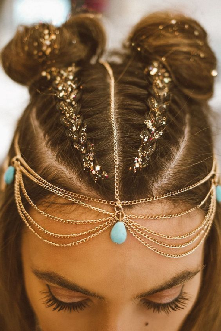 Bling hair accessories Hair Braids with Glitters, Tear Shaped Opal Stone and Gold Chains