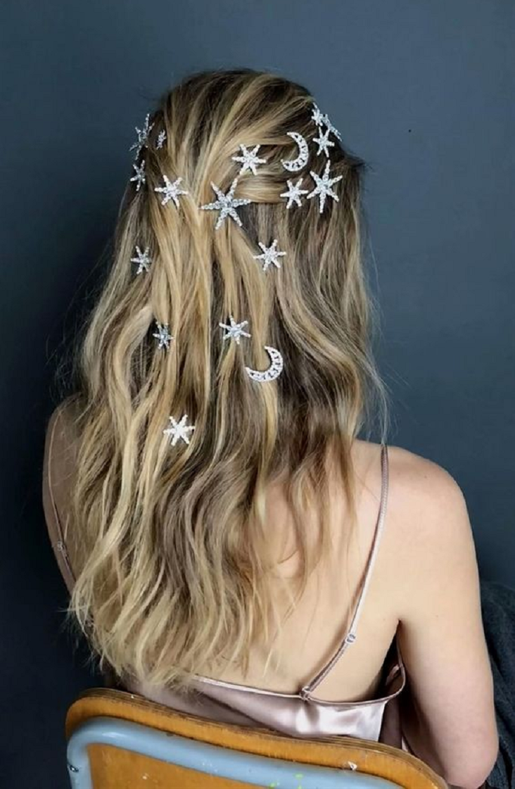 Bling hair accessories These Bobby Pins Used On The Hair To Give A Sparkling Galaxy Look Moon and Stars