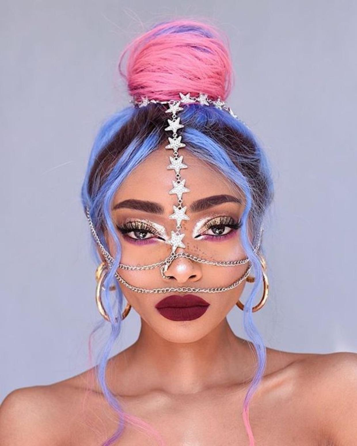 Tri-Colour Hair with Classic Bun Hairstyle and Rhinestone Face Chain