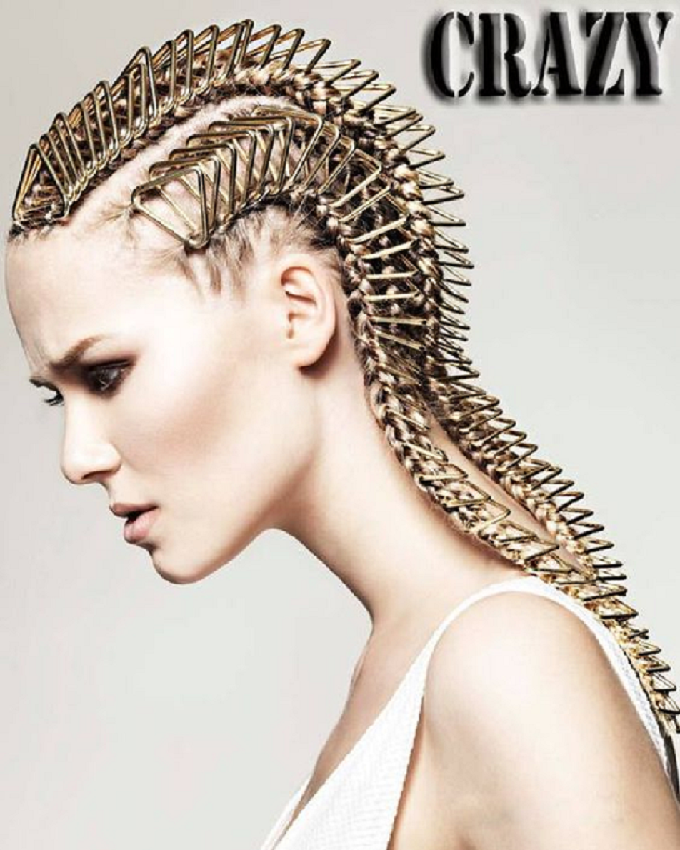 Bling hair accessories Long Hair Braided with Gold Clipped Chain