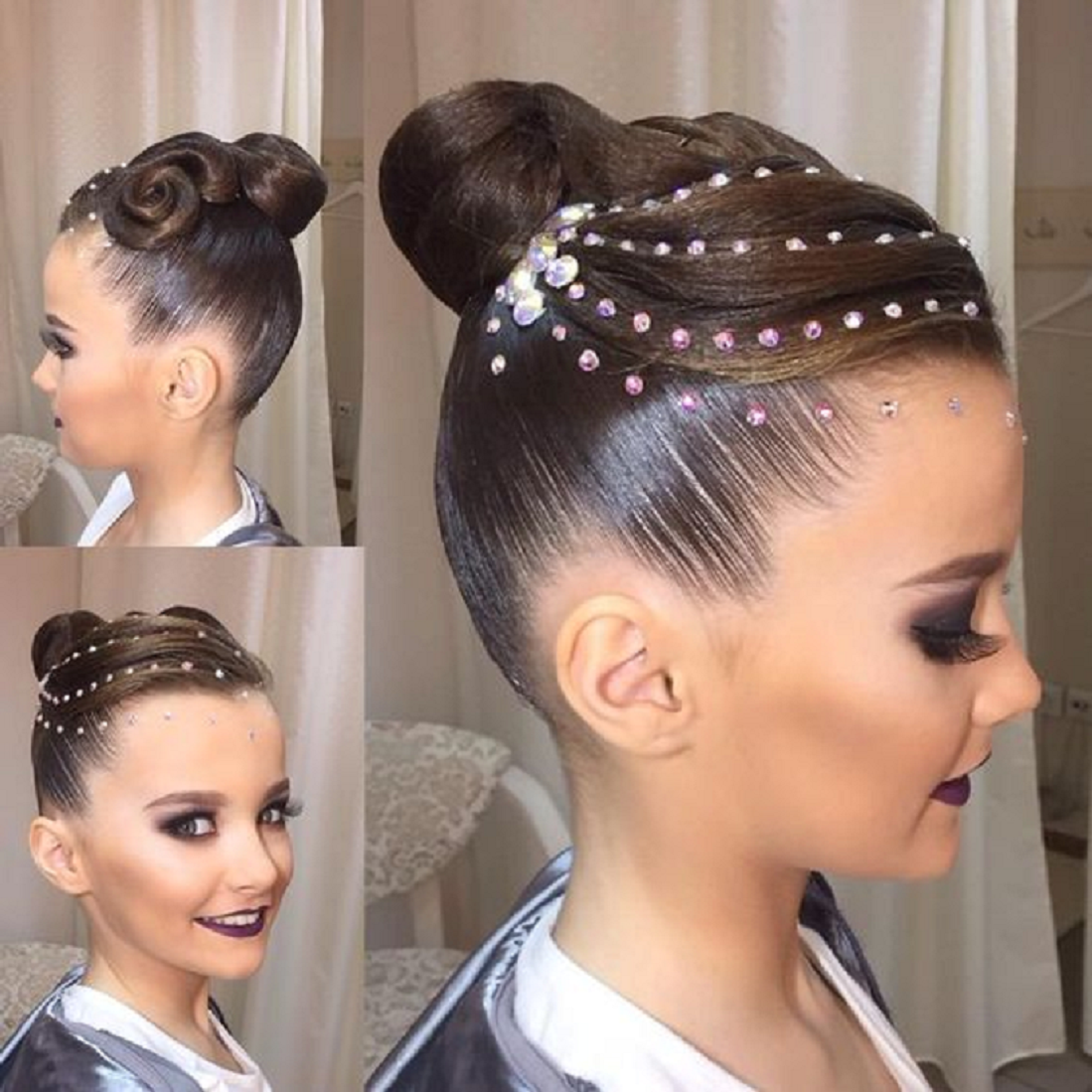 Bling hair accessories Beautiful Curl Bun Hairstyle with Rhinestone Studs and Crystal Stones On The Hair
