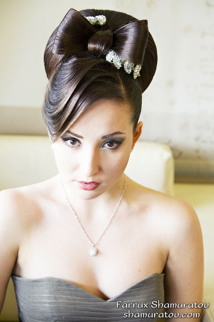 Bling hair accessories Beautiful Bow Type Bun Hairstyle with Rhinestone Hair Clips