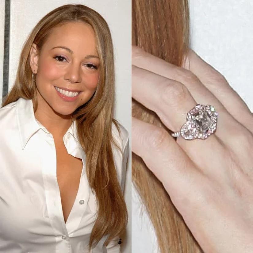 Celebrity Jewelry Mariah Carey Wears A Big Diamond Rock Surrounded with Small Diamonds