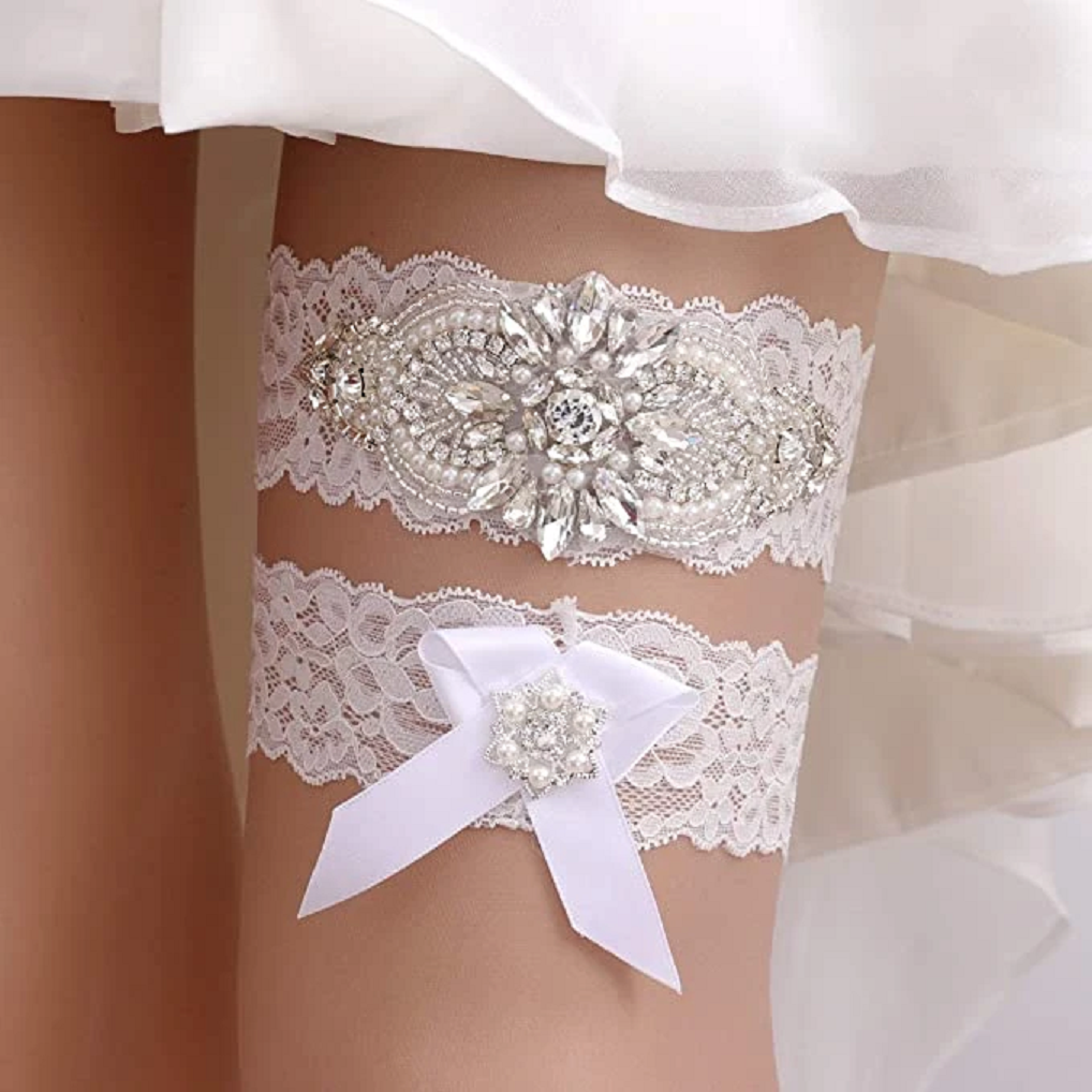 Bling wedding accessories Ivory Lace Garter with Rhinestones Embellished Bowes For The Bride