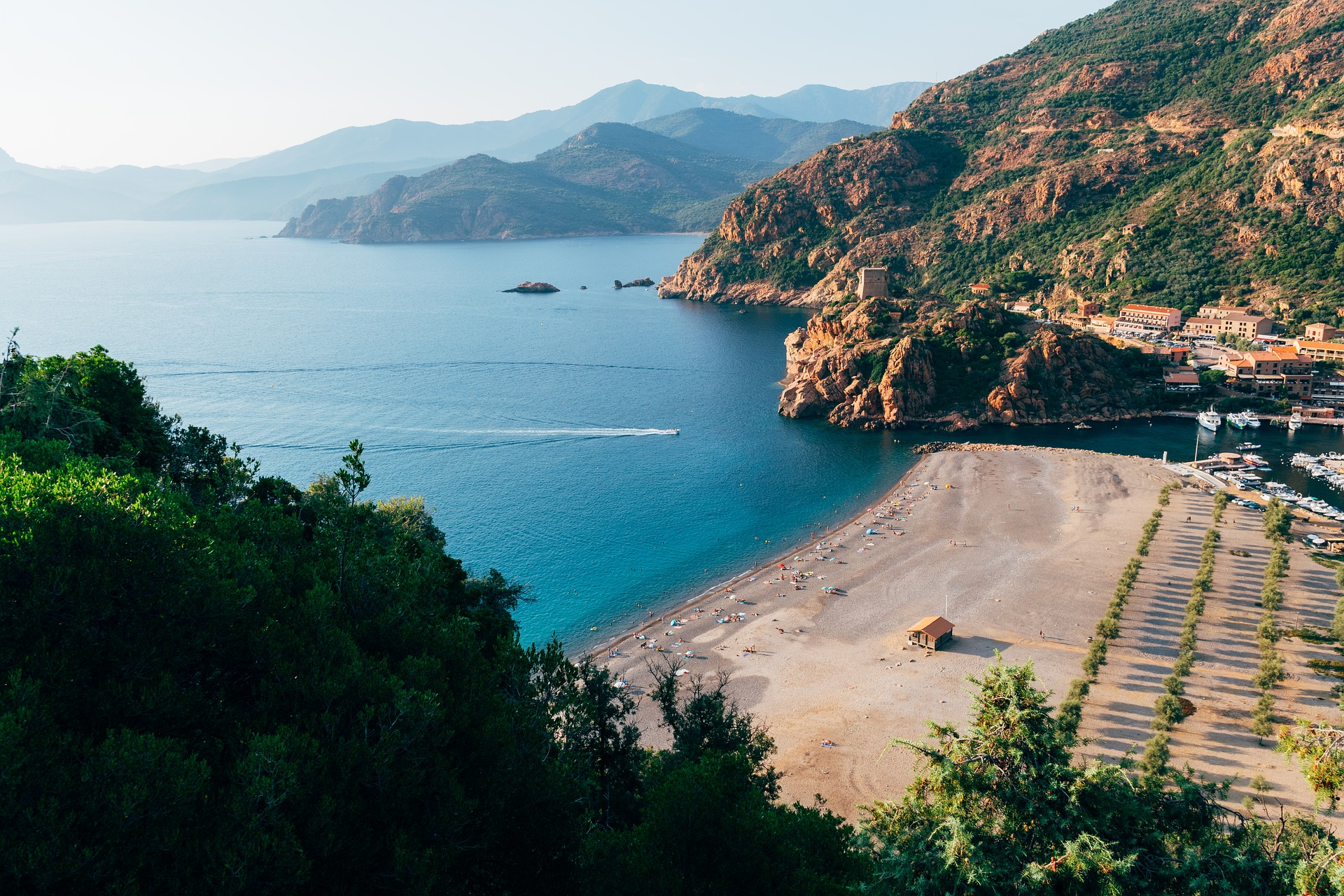 The stunning Mediterranean islands Moutains spill into the sea in Corsica