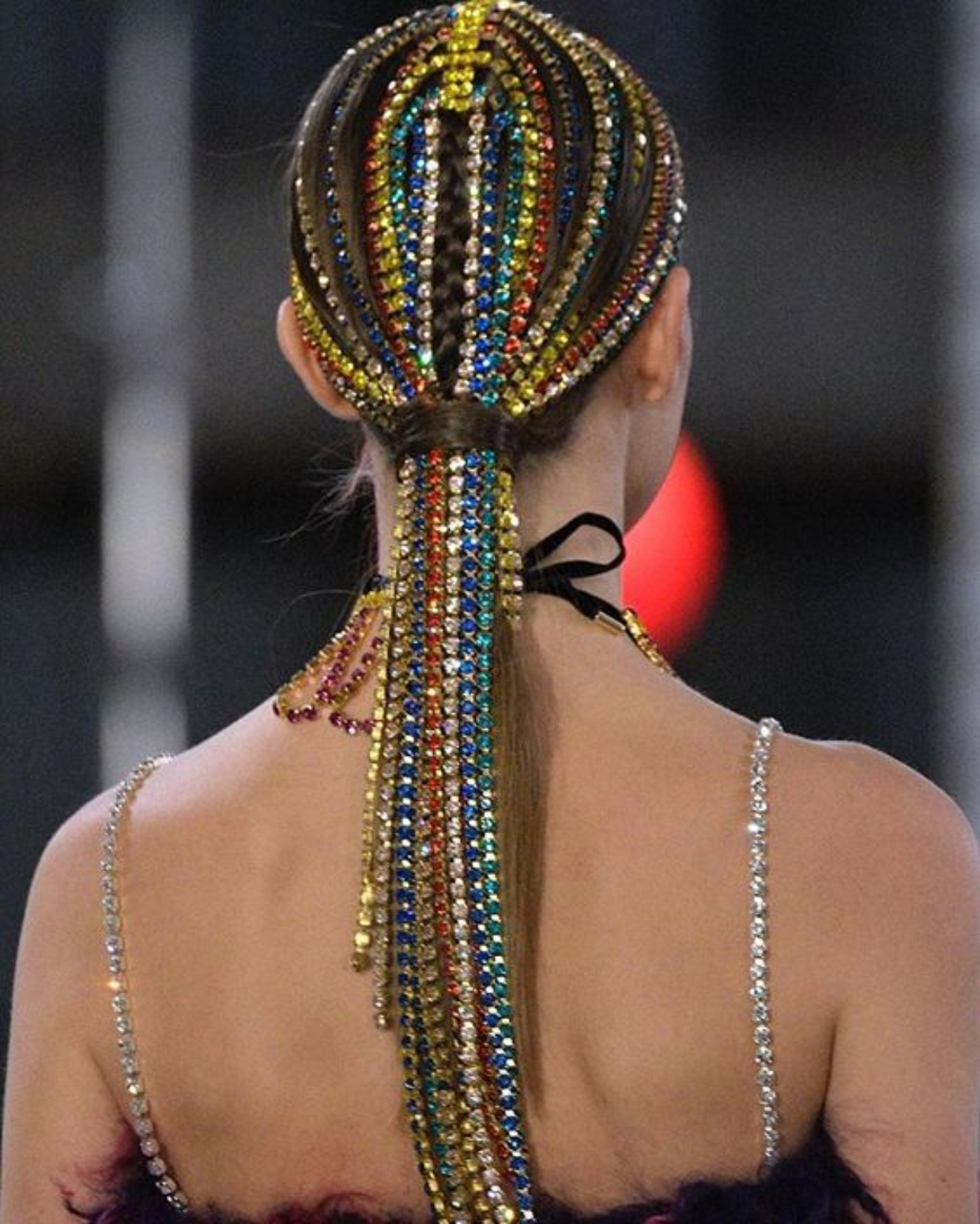 Bling hair accessories Beautiful Ponytail Hair Braided with Multi-Colour Rhinestones