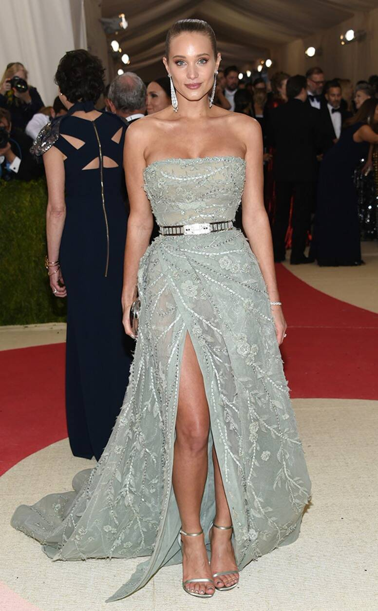 Celebrities Wearing Bling Hannah Davis Wearing An Off The Shoulder Long Sequin and Beaded Gown with A High Slit