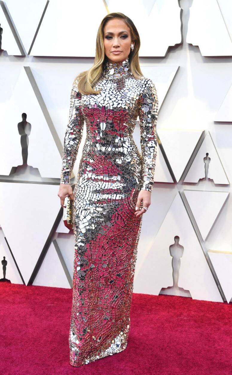 Red Carpet bling Jennifer Lopez In A Long Sleeves High Neck Mirror Sequin Gown