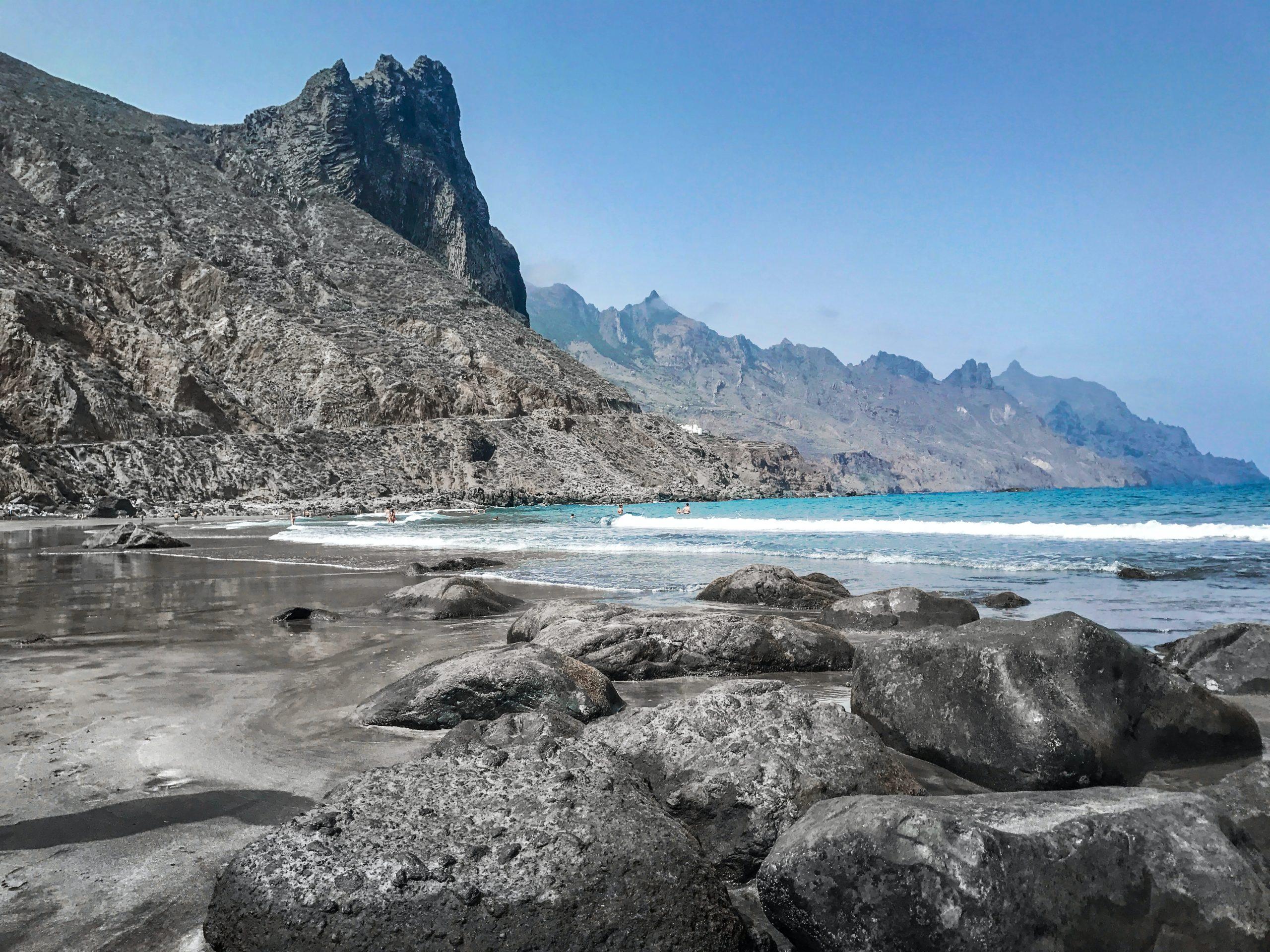 Swim with the DRAMATIC coastline of Santa Cruz de Tenerife in the background
