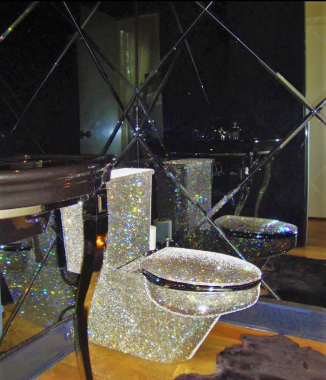 Bling for your bathroom A Glittering Luxury Water Closet with Rhinestones