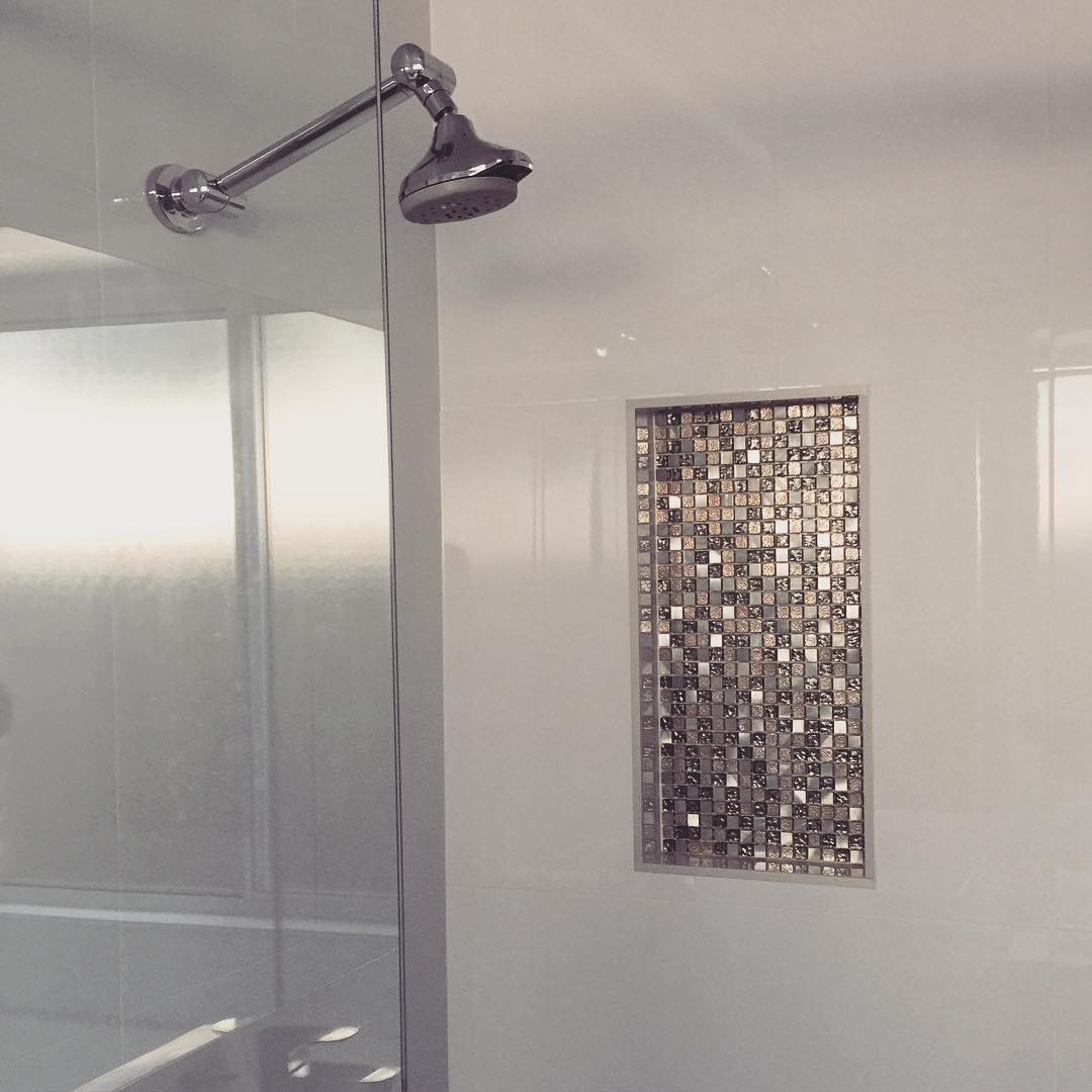 Bling for your bathroom Love A Bit Of Bathroom Bling? Glittering Recessed Shelves Tiles