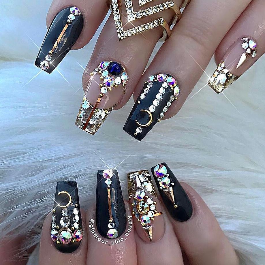 Bling fingernails Crystal and Rhinestones Bling Nail Art with Black Nail Polish