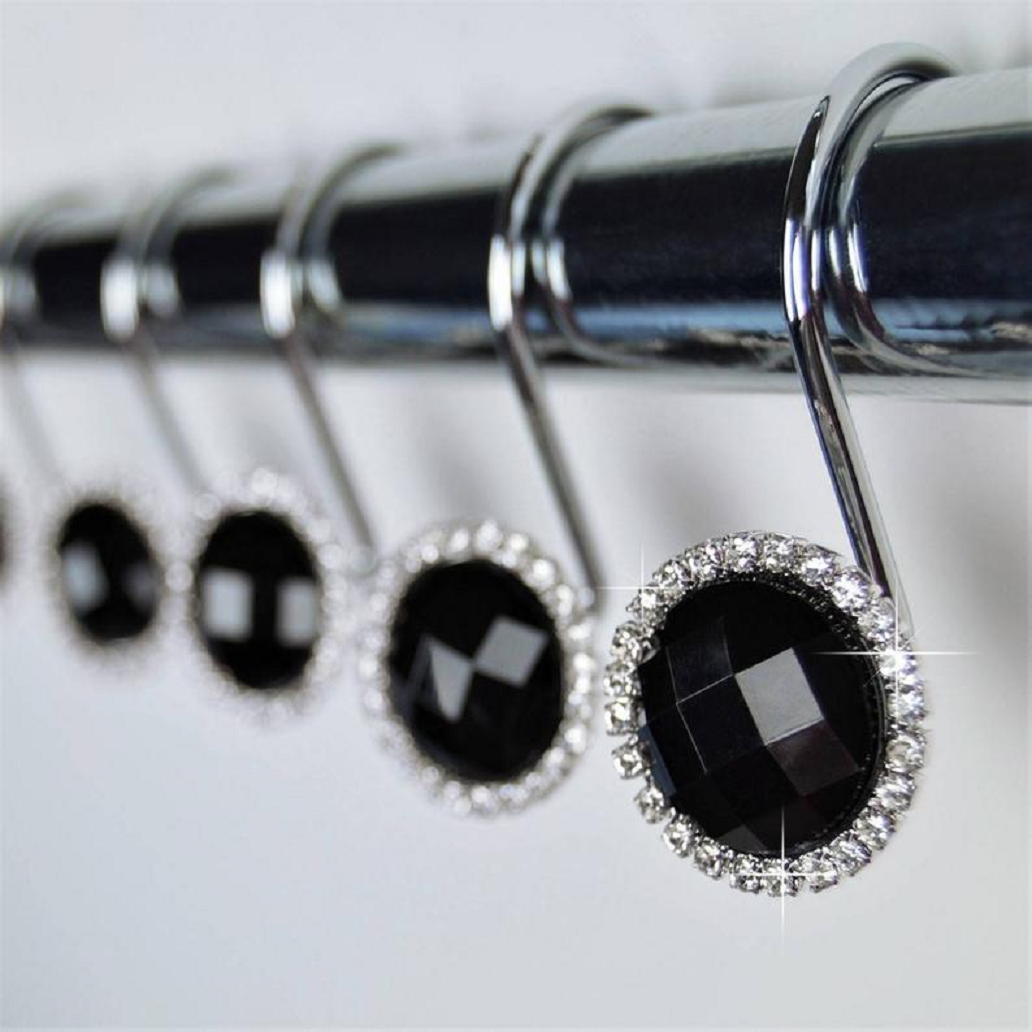 Bling for your bathroom Shower Curtain Hooks Rings - Black Crystal Diamond Gems Bling