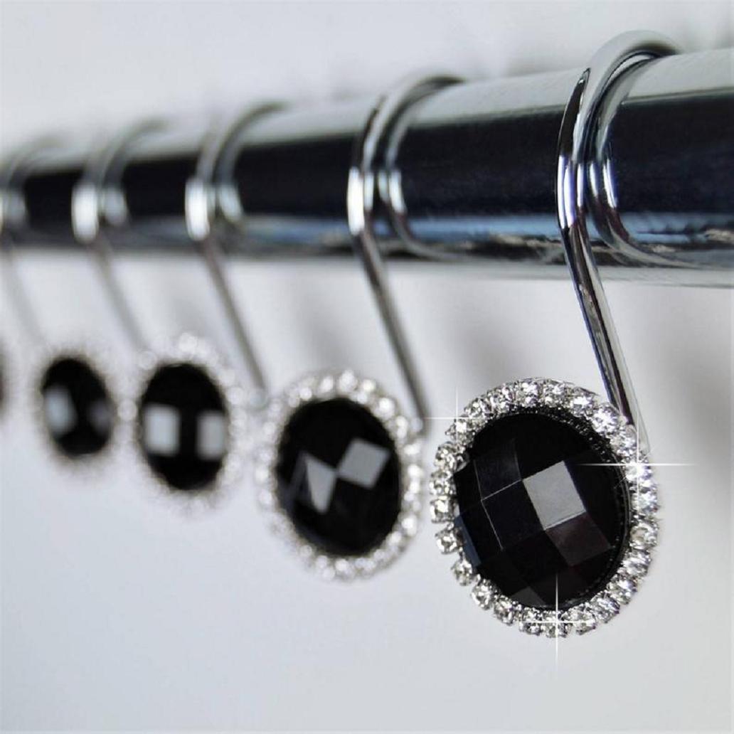 Bling for your bathroom Shower Curtain Hooks Rings - Black Crystal Diamond Gems Bling