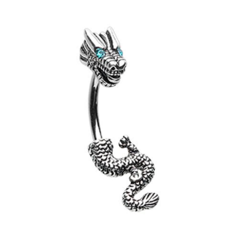 Belly Ring Bling:  Never Ending Dragon Belly Button Ring with Rhinestones