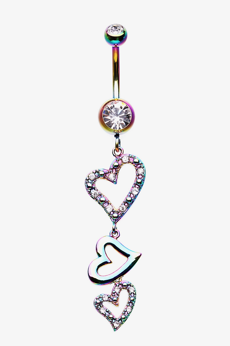 Belly Ring Bling:  Glittering Anodized Rainbow Hearts Navel Ring with Colorful Rhinestones