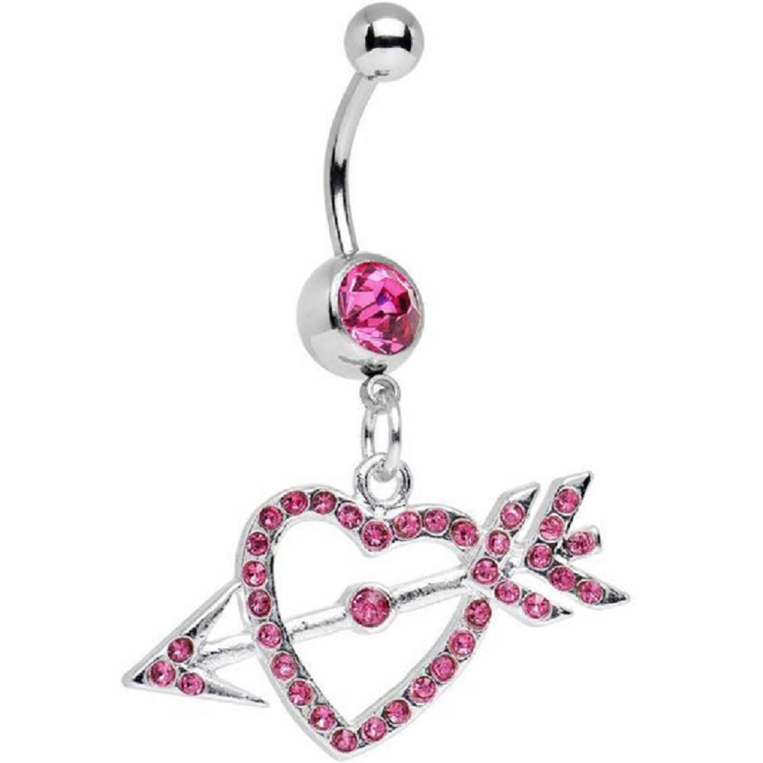 Belly Ring Bling:  Pink Gem Cupid's Arrow Hits the Heart Dangle Belly Ring with Sparkling Rhinestones
