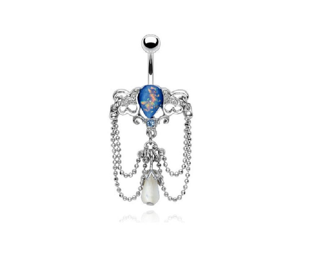 Belly Ring Bling: Blue Synthetic Opal Chain Vintage Chandelier Belly Navel Ring