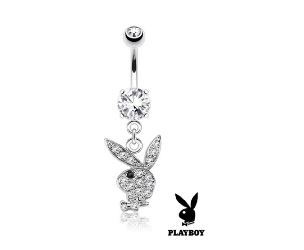 Belly Ring Bling: Black Eye Multi-Gem Playboy Bunny Dangle Belly Navel Ring