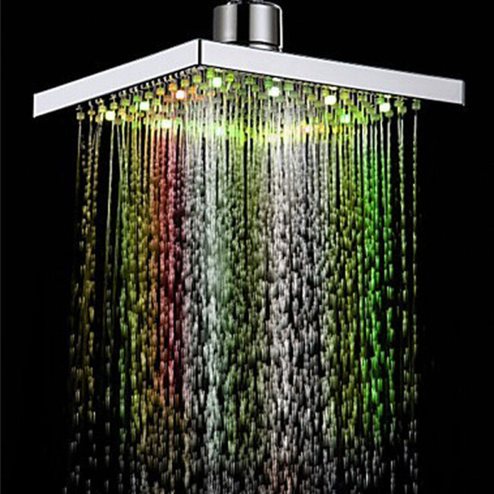 Bling for your bathroom LED Auto Changing Shower Square Head Light Rain Water