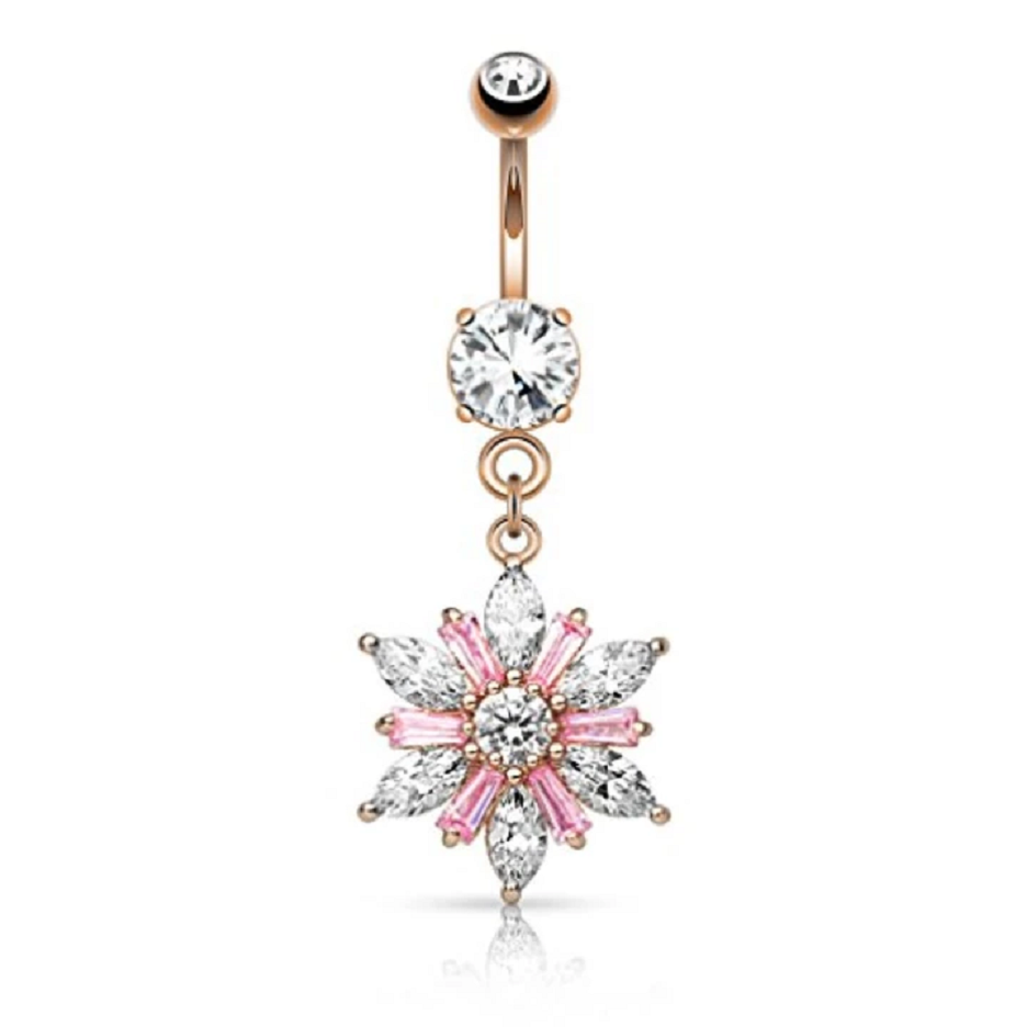 Belly Ring Bling: Glittering Marquise Flower Dangle Goldtone Belly Button Ring