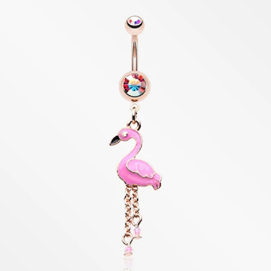 Belly Ring Bling: Dangling Golden Pink Flamingo Sparkle Belly Button Ring