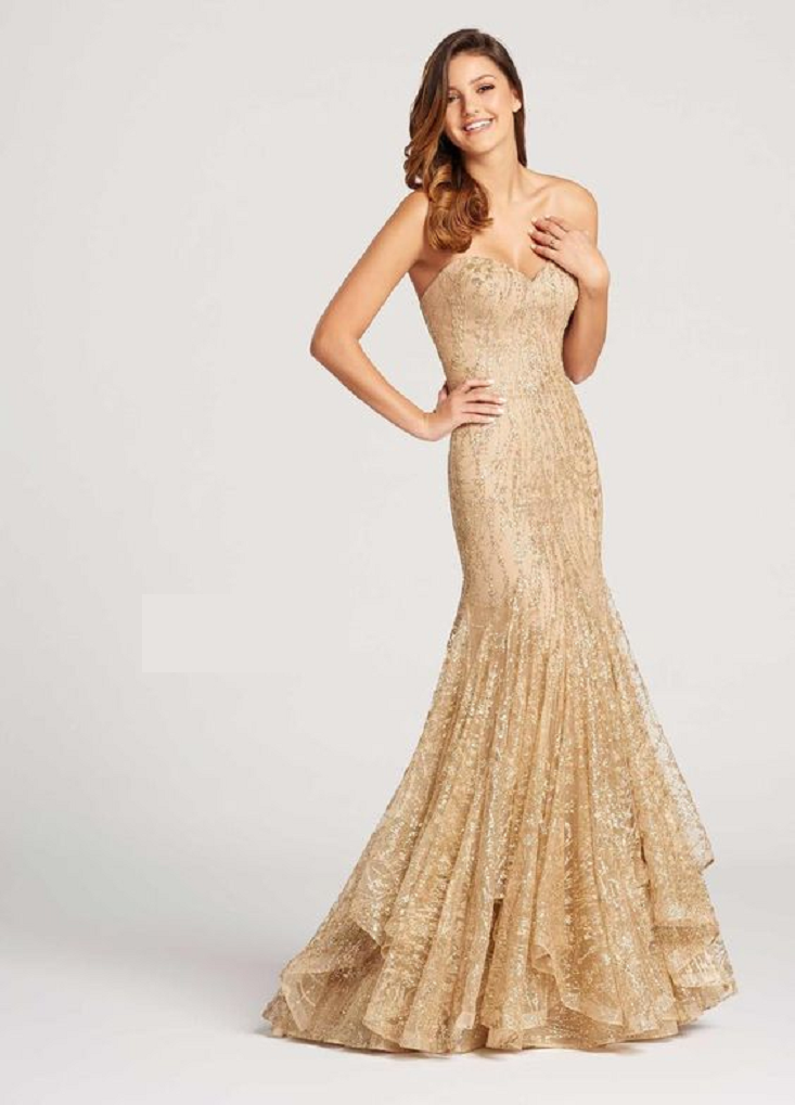 Gold sequin dresses Gold Sequin Off The Shoulder Sweetheart Neckline with Flared Hemline Gown