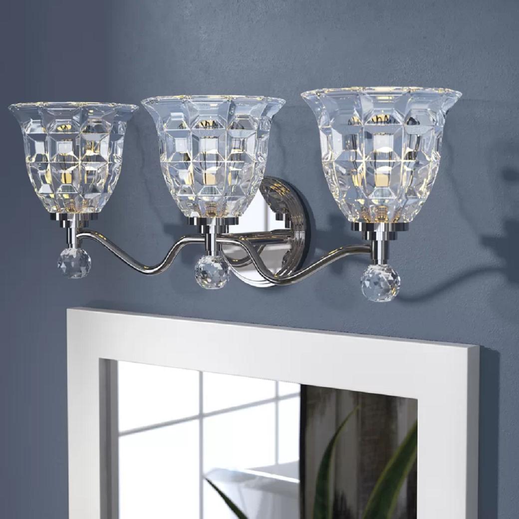 Bling for your bathroom Sparkling 3-Crystal Light Polished Nickel Bathroom Vanity Mirror Light