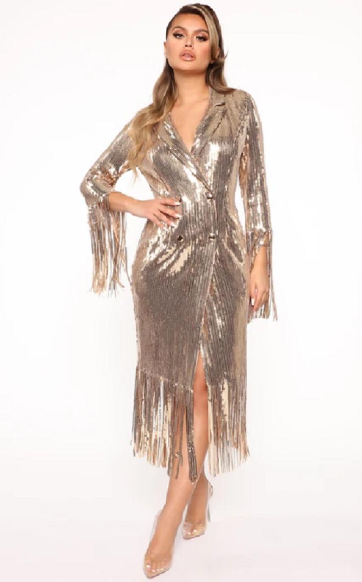 Gold sequin dresses Glittering Long Sleeves with V-Neck and Beaded Fringe Hemline