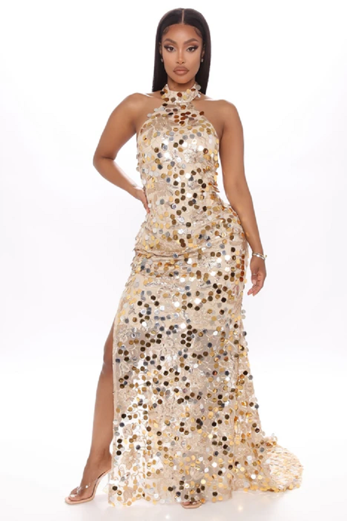 Gold sequin dresses Long Jumbo Sequin Gown with Chinese Collar and High Slit