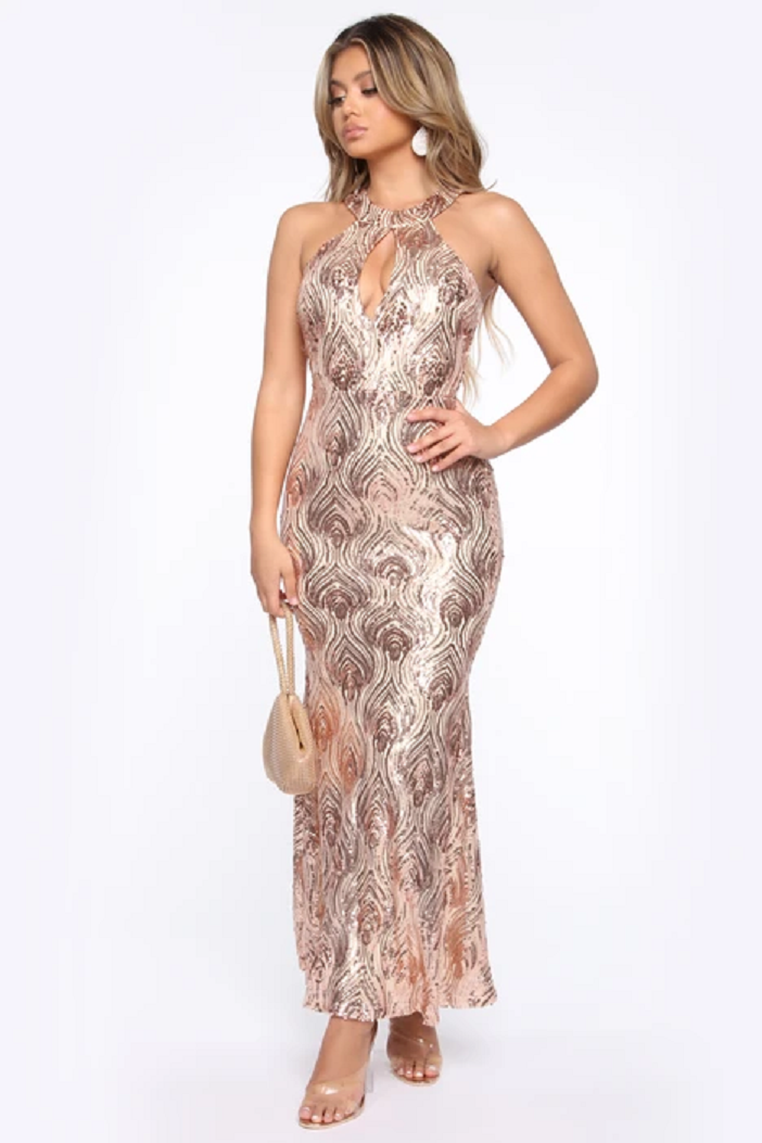 Gold sequin dresses Long Rose Golds Sequins with A Key Hole and Sleeveless Gown