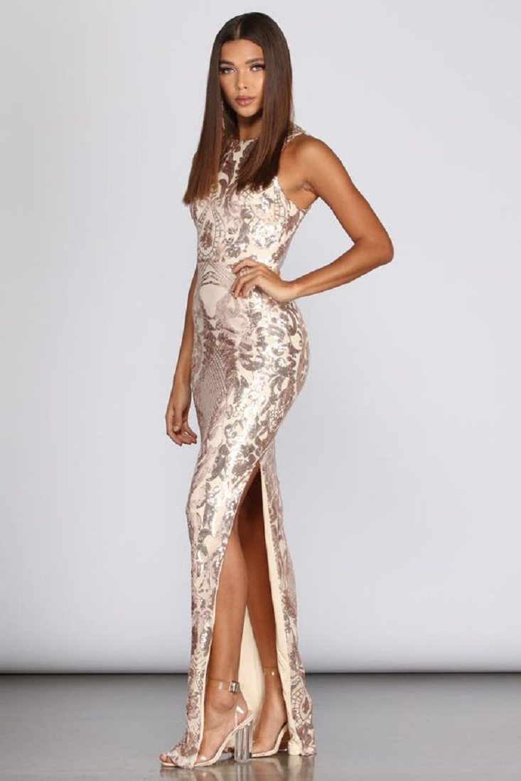 Gold sequin dresses Long Sleeveless Sequin Gown with High Neck and High slit Formal Gown