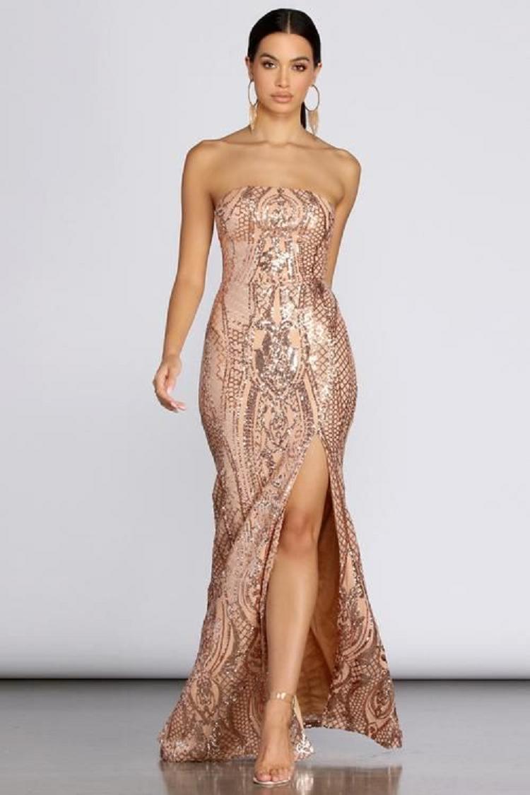 Gold sequin dresses Strapless Off The Shoulder Gold Sequin High Slit Gown