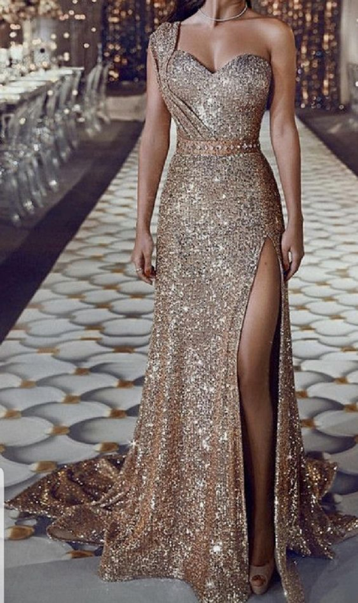 Gold sequin dresses Shimmery Mermaid Prom Dress with Mono-Strap Gold Sequin Gown
